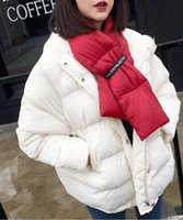 Wholesale Leather Animal Suits - SO COOL UNISEX Down scarves Winter Thicken Down Scarf Suit For Down Jacket 2017 Perfect Outdoor Super Warm Scarf Luxury Women Men Warm Colla