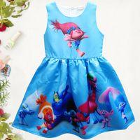 Wholesale Poppy Dress - Girl Trolls Poppy Branch Princess Dress Children high quality cartoon bowknot sleeveless vest dresses clothes B001