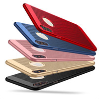 Wholesale full sink - Phone Cases For Apple Iphone 6s Plus 7 8 X Case PC Sink Mesh Ventilation Armor Full Package Hard 5 Colors