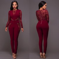 Wholesale One Piece Jumpsuit Woman - Women Sexy Long Sleeve Lace Patchwork Bodycon Rompers Womens Jumpsuits Bandage Full Length One Piece Pants Jumpsuit For Ladies