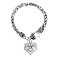 Wholesale clear crystal claw setting - Best Gift for Lover Rhodium Elegant Pendant Letter WIFEY Clear Crystal Heart Pendant Bracelets Thick Chain