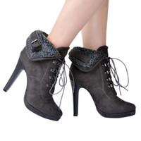Wholesale Thick Heel Womens Shoes - Zandina Hotsale Womens Fashion Handmade 13cm Thick Heel Platform Lace-up Martin Boots Winter Casual Shoes XD162-021