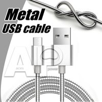 Wholesale Wholesale Gold Wire - Micro usb Phone Charger Cable Type C V8 Cables Support Fast Charger Pass 2A Metal Data Sync Charging Wire For Samsung Galaxy S8