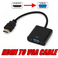 Wholesale Vga Cable For Tablet - High Quality HDMI Male to VGA Female Video Converter Adapter HDMI Cable For Computer PC Laptop Tablet Full HD 1080P HDTV Monitor HDMI To VGA
