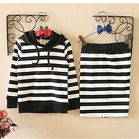 Wholesale Kids Long Pencil Skirts - Wholesale- kids girls striped clothing suit long sleeve hood shirt with pencil skirt kids clothing sets fashion kids garment retail