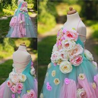 Wholesale Empire Dresses For Girls - Colorful Handmade Flower Girls Pageant Gowns Halter Empire Lace Up Tulle Flower Girl Dresses For Wedding Baby Birthday Party Dress