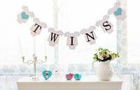 ingrosso gemelli partito-All'ingrosso-Spedizione gratuita 1 set di gemelli Banner Baby Shower Ghirlanda segno puntelli foto decorazione della festa di compleanno per bambini