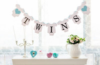 Wholesale Twins Baby Set - Wholesale- Free Shipping 1 Set Twins Banner Baby Shower Garland Sign Photo Props Kids Birthday Party Decoration