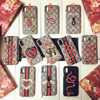 Wholesale Embroidery Cases Iphone - For iPhoneX 7 6 6S 7plus Luxury brand embroidery tiger snake bee animal pattern phone case hard back cover for iPhone8 8plus