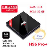 4k tv box octa 2gb großhandel-H96 Pro + 2G 3G DDR3 16G 32G Blitz 2.4G 5GHz Wifi HD2.0 Iptv 4K Kasten S912 Fernsehkasten Octa Kern Android 7.1 intelligentes android Fernsehkasten H96 PLUS Set Oberseite