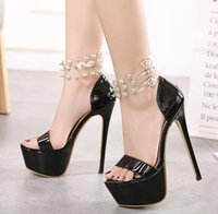 Wholesale High Heels Transparent Platform - Chic black rivets transparent PVC strap platform high heel shoes rome style size 34 to 40