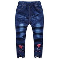 Wholesale 12 Year Old Girls Fashion - 2017 autumn children's clothing fashion classic children's cowboy pants girls primary and secondary students 8-16 years old stretch jeans