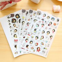 Stickers Momoi Pas Cher-Vente en gros - 5 pièces / Pack Cute Kawaii Sticker Paper Cookie's Helloday Momoi Girl Stickers pour Kid Gift Scrapbooking