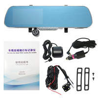Wholesale Touch Screen Car Camera - Car DVR dash cam All Winner Solution PZ917 5inch HD Touch Screen Intelligent Dual Lens GPS Tracker Radar Detector Rearview Mirror Auto Post