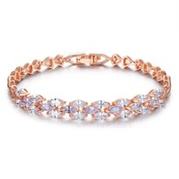 Wholesale Cheapest Price Beads Charms - Hot Sale 18K Gold Bracelets Zircon Bracelet Shining as Diamond Fashion Jewelry 19*0.7cm Woman Jewellery with Cheapest Price Free Shipping