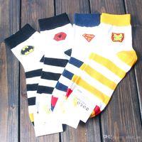 Wholesale Superman Robot - 2017 New Autumn Winter Men Cotton Sock Men's Brand Harajuku Cotton Socks Male Cartoon Spider Man Batman Superman Robot Stripe socks