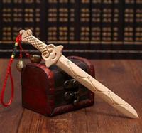Wholesale Seven Swords - Natural peach-wood sword seven star sword double wood carving the original color small sword hang piece