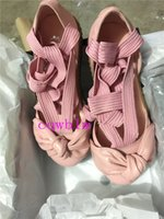 Wholesale Discount Pink Heels - 2017 New Discount Fenty Rihanna Bow Creeper Bandana Sandal Cheap Fashion Women Sliver Pink Tint Leather Ballet Shoes Size 35-40