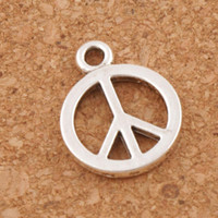 Wholesale Silver Plated Peace Signs - Smooth Peace Sign Charms Pendants 200pcs lot Antique Silver Small Jewelry DIY L246 18.2x14.2mm