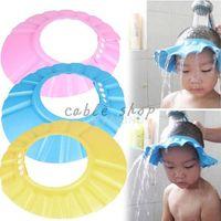 Wholesale Clean Shield - Wholesale- Free shiping Adjustable Convenient Elastic Baby Shower Cap Children Shampoo Bath Wash Hair Shield Hat
