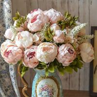 ingrosso giardinaggio peonies-13 teste stile europeo falso seta artificiale peonia partito decorativo fiori per la casa albergo matrimonio ufficio arredamento da giardino