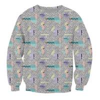 Wholesale Pattern Wallpapers - Wholesale- Synthesizer Crewneck Sweatshirt crazy 80s like wallpaper pattern stylish Jumper Sweats Women Men Tops Hoodies 3D Pull