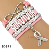 Wholesale Survivor Charms Wholesale - Drop shipping Infinity Love Survivor Ribbon Awareness Bracelet Gift for Survivor Fighters Pink Silver Custom any themes