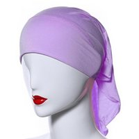 Wholesale Underscarf Headband - Wholesale-Muslim Women Soft Comfortable Inner Hijab Caps Islamic Underscarf Hats Hot PY3 L4