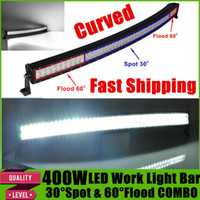 "Wholesale Van Fog Lights - 52"" 400W Curved LED Light Bar for Offroad Work Fog Driving Lamp Boat Car Truck Wagon Van Camber Vehicle 4x4 SUV ATV Spot Flood Combo Beam"
