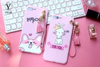Para Iphone X Soft TPU Case Girl Hello Kitty Pink Pintado Cover Tassel Pendant Drop Proteção Back Phone Cases para iPhone 8 7 6 6S plus