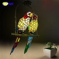 Wholesale Parrot Green Glass - FUMAT Stained Glass Pendant Light Creative Art Glass Bird Parrot Retro Pendant Lamp Living Room Glass Shade Light Fixtures