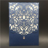 Wholesale wedding cards design price - Hot sale modern designed Wedding Invitations cards White, coffee color Hollow Laser Cut Greeting Cards DHL Free in good price DHL free