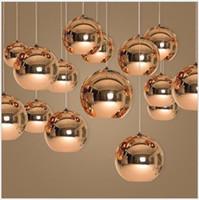 Wholesale Mirror Balls Light Fixture - Mirror Glass Ball Pendant Lamp Dixon Chandelier Ceiling Light Fixture New Chrome For Dinning Room Home Decor