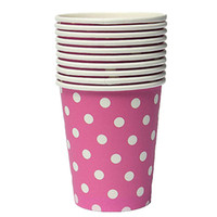 Wholesale Paper Cup Pink Dot - Wholesale-LHLL-50pcs Polka Dot Paper Paper Cups Case Disposable Tableware Wedding Birthday Decorations Pink
