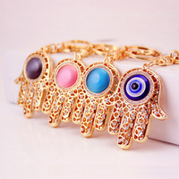 Wholesale Evil Eye Charms Round - Lucky Charm Amulet Hamsa Fatima Hand Evil Eye Keychains Purse Bag Buckle Pendant For Car Keyrings key chains holder women free ship