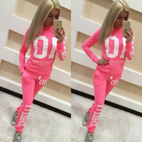 Wholesale 2pc Fashion - Sport wear Tracksuit Women Letter Pink Print Sport Suit Hoodies Sweatshirt +Pant Jogging Sportswear Costume 2pc Set