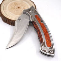 Petits Couteaux Pliants En Gros Pas Cher-Vente en gros Browning Laser Portable Small Folding Knives 440 Blade Wood Handle 58HRC Outdoor Camping Survival Hunting Tools