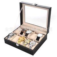 Wholesale Glass Jewelry Display Cases Wholesale - 10 Grids Black PVC Leather Watch Case Jewelry Display Box - Glass Cover Windowed Watch Bracelet Jewerly Storage Case
