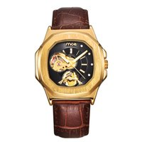 Wholesale Women Mechanical Watch Sale - Hot Sale 5711 womens Mechanical Nautilus Watch Automatic Movement Stainless Transparent Leather Band hollow dial women clock Sky Moon