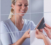 etiquetas engomadas cuadradas del espejo 3d al por mayor-Alta calidad Square Mirror Tile Pegatinas de pared 3D Mosaico Decal Home Decor 7/10/16 PC 15 * 15 cm
