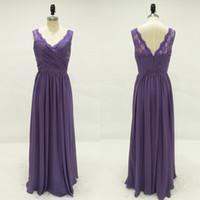 Wholesale Shirred Dress Straps - 2017 Purple Bridesmaid Dresses Long V Neck Sheer Lace Straps Pleated Bodice Shirred A Line Skirt Chiffon Bridesmaids Dresses Dark Purple