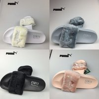 Wholesale Summer Slippers Sale - Wholesale (Dust Bags+ Original Box) Puma Leadcat Fenty Rihanna Slippers shoes Womens Indoor Sandals Girls Fashion Scuffs Slide for sale