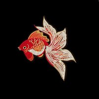 Wholesale Clothes For Fishing - Nice Red Goldfish Sequin Appliques Fish Patch Embroidered Iron On Patches For Clothes DIY Jean Trousers Jacket Clothing DIY Handmade Sewing