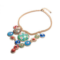 Wholesale New Resin Bubble Necklace - Fashion New Gold - plated Circular Resin Bubble Cat Eye Colorful Pendant Necklace for Women Jewelry Accessory Wholesale