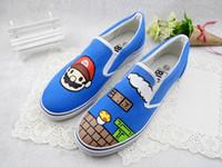 Wholesale Mario Shoes - Hand-painted Canvas Cartoon Shoes Super Mario Graffiti Handpainted Shoes Low Sneakers Loafers Men Women Shoes Cheap Sale