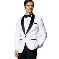 Wholesale Mens Black Satin Bow Tie - Custom Made White Jacket With Black Satin Lapel Groom Tuxedos Groomsmen Best Man Suit Mens Wedding Suits (Jacket+Pants+Bow Tie+Girdle) OK:98