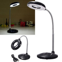 Wholesale Magnifying Glass Usb - 18 LED USB Reading Desk Table Light With 3x Magnifying Glass USB  Battery Power Lamp LEG_30F