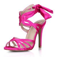 fildişi topuk ayakkabıları toptan satış-Real Fuchsia Sandaleler Kadınlar 2017 Gerçek Görüntü Ayakkabıları Yaz Stil Sandal Gelin Düğün Fildişi Ayakkabıları Hollow High Heels Seksi Chaussure Femme