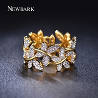 Wholesale Pave Flower - Wholesale- NEWBARK Elegant Flower Rings Composed Of 10 Butterflies Paved Tiny CZ Stone Fashion Rings For Women Perfect Accessories Jewelry