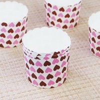 150pcs / Lot Heart Dot Design Cupcake Wrappers High Temperature Muffin Baking Cups Paquet de cupcake en papier à base de graisse